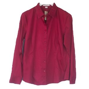 NWT Coldwater Creek No Iron Red Button Up Shirt
